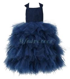 Red White Blue Tutus UK - Navy Blue Lace Tulle Flower Girl Dress Wedding Party Formal Girl Dresses Floor Length Tutu Girl First Communion Dresses