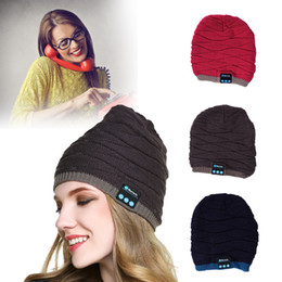 Chinese  Boys Girls Knitted Wireless Bluetooth Hat Xmas Halloween Gifts Hats Speaker Winter Warm Beanies Bluetooth stereo Smart Caps Headphones manufacturers