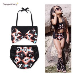 $enCountryForm.capitalKeyWord Canada - Baby Two-piece Bikini Infant Toddler Girls' Bathing Big Bow Out Shoulder Black Geometric Swimsuits Outfits Elastic
