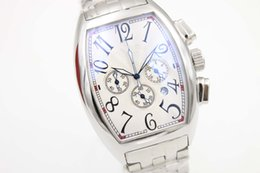Wholesale Special Sale Frank Quartz Watch Men Chronograph White Big Dial Stainless Band Sport Watch Montre Homme