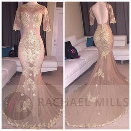 Short Voir À Travers La Robe Bling Pas Cher-2017 Sexy Bling manches courtes Mermaid Prom Robes Crystal Beaded Tulle Voir à travers Backless Nude Robes de soirée Robes de style