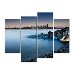 rock canvas prints UK - The Picture For Home Decor Dreamy Seattle Skyline From Rocky Beach Covered With Pebbles Rocks And Tree Log Seascape Coast Print On Canvas