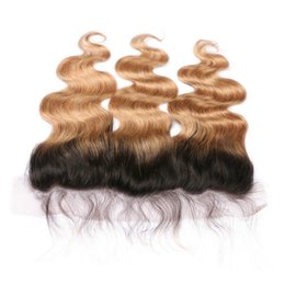 bleach blonde virgin hair UK - Dark Roots Honey Blonde Virgin Human Hair 13x4 Full Lace Frontal Bleached Knots Body Wave 1B 27 Light Brown Ombre Lace Frontal Closure