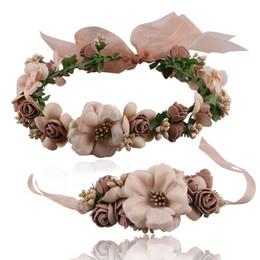 Discount hawaii flower crown - Wedding Bridal Girl Head Flower Crown Rattan Garlands Hawaii Flower Head Wreath Headband & Wrist Hair Accessories