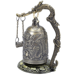 China Antique Home Decoration Zinc Alloy Vintage Style Bronze Lock Dragon Carved Buddhist Bell Chinese Geomantic Artware Exquisite suppliers