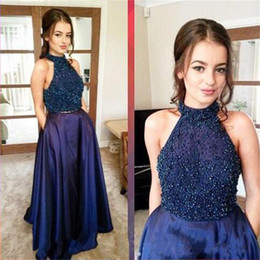 30de8f4afb25 Two Pieces Navy Blue Prom Dresses Halter Beads graduation dresses Prom Gowns  Pageant Gowns semi formal dress Evening Party Dress Satin