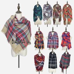 Discount oversize plaid scarf - Brand-Za Winter Chic Knit Stole 2016 Tartan Oversize Scarf Shawl Grid Check Women Bandana New Designer Acrylic Plaid Bla
