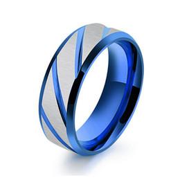 $enCountryForm.capitalKeyWord Canada - fashion Mens Blue Titanium Stainless Steel Brushed Matte Finish Center Ring Beveled Edges Wedding Engagement Band
