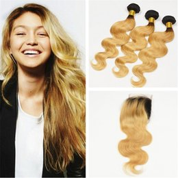 dark roots blonde closure Canada - Honey Blonde Dark Roots Ombre Lace Closure With Bundles #1B 27 Two Tone Ombre Brazilian Body Wave Hair With Closure