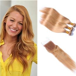 $enCountryForm.capitalKeyWord NZ - Brazilian Human Hair Straight Lace Closure With Bundles #27 Honey Blonde 8a Human Virgin Hair 3 Bundles with Lace CLosure