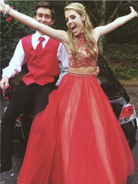 sexy teens pictures NZ - 2019 Two Piece Prom Dresses Red Evening Gowns Tulle Evening Dress Sparkle Formal Dress For Teens