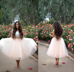 Robes De Robes De Bal Rose Femme Pas Cher-Blush Pink Tulle Jupes Custom Ball Gown Femmes Jupes Longueur du thé Beaucoup de couches Robes de soirée Cheap Skirts With Elastic Waist Plus Size