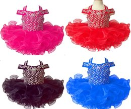 Mini Baby Girl Toddler Canada - Wholesale New 2017 Beaded Girls Natioanl Pageant Cupcake Dresses Infant Tutu Gowns Toddler Baby Girls Halter Ruffled Mini Pageant Dress