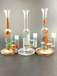 "Disk Bongs NZ - 11"" tall copper plating glass bongs glass Bubbler hand blown glass bongs water percolator one honey comb disk joint size 18.8mm"
