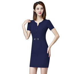 431a55c37d9 Women Sexy Business Clothes Canada - Work Dress Women elegant Business work  wear Single Breasted V