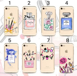 Barato Sexo Batom-Cosméticos Lápis de batom Frasco de perfume Soft TPU Beauty Case para iphone 7 5 5s 6 6 plus para iphone5 Sex Laday Phone Cover