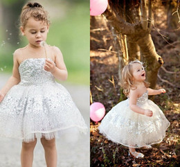 Barato Rendas Vestidos De Tule Toddler-Silver Sequins Lace Tulle Toddler Flower Girls Dresses Cute Cupcake Ball Gown Aniversário Festança Vestidos Girls Pageant