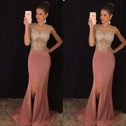 Barato Vestidos De Formatura Rosa De Lantejoulas Longo-Mermaid Dusty Pink Evening Dresses Formal Longa Arábia Saudita Cheap Beaded Sequins Side Split Elastic Satin Sheer Neck Prom Dresses Party Gown
