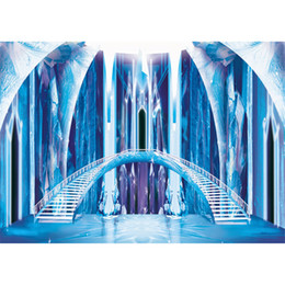 Discount fairy photo background - Interior Frozen Castle Photography Backdrops Princess Blue Ice Bridge Staircases Fairy Tale Children Kids Studio Photo S