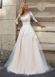 $enCountryForm.capitalKeyWord Canada - 3 4 Sleeves Lace Appliqued Champagne Wedding Dress For Bride 2019 A Line Dropped Waist Scoop Bridal Dresses Wedding Gown