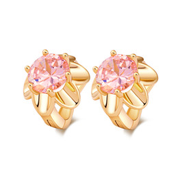 $enCountryForm.capitalKeyWord NZ - Fashion Jewelry 18K Yellow Gold Plated Pink Cubic Zirconia CZ Flowers Hoop Earrings for Women Hot Gift