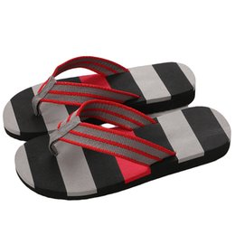 $enCountryForm.capitalKeyWord UK - Islike New Summer Men Print Flip Flops EVA Cross-Striped Ribbon Flat Slides Non-slip Sandals Home Slipper Casual Man Beach Shoes