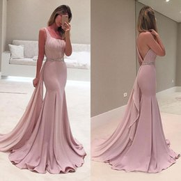 $enCountryForm.capitalKeyWord Canada - Stunning 2016 Light Pink One Shoulder Mermaid Dresses Evening Wear Sexy Backless Beaded Sash Pleats Long Formal Evening Gowns EN11224