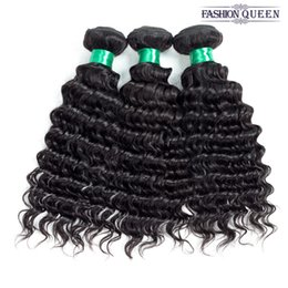 Wholesale FASHION QUEEN A Unprocessed Brazilian virgin Bundles Deep Wave Curly Hair Weft Human Hair Peruvian Indian Malaysian Hair Extensions