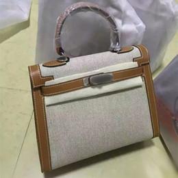 $enCountryForm.capitalKeyWord Canada - Luxury 100% Genuine Leather + Canvas Bags Ladies Famous Brand Tote Shoulder Bags Designer Handbags High Quality Women Messenger Bags