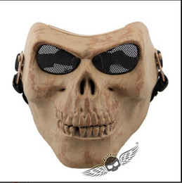 Discount skull half face paintball mask - Top Grade M02 skull mask Retro imitation metal terror mask cs protection Paintball Airsoft Masks Halloween horror masks