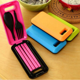 Wholesale Portable Folding Travel Dinnerware Set Korean Tableware Cutlery Fork Set For Kids Bento Accessories