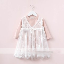 Barato Korean Bonito Roupas Para Crianças-Everweekend Kids Tulle Ruffles Bow Lace Floral Dress Cute Baby Candy Color Clothing Princess Korean Fashion Autumn Party Clothing