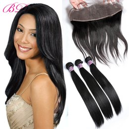 processed straight hair Canada - BD Straight Lace Frontal Human Hair Extensions 13*4.5 Lace Size Within Three Bundles Human Hair Weaving