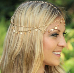 chain headdress wholesale NZ - Hair Jewelry Europe and United States New Sequins Wave Tassel Chain Headdress Hair Bands