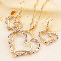 Роскошные Свадебные Колье и Серьги Набор Мода Золото Серебро Кристалл Шарм Сердце Ювелирные Изделия