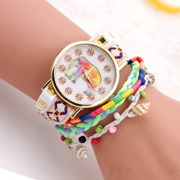 $enCountryForm.capitalKeyWord Canada - Watches for Women Knitted bracelets Beads Textile Canvas Band Quartz Movement Womens Watch Mineral Glass Alloy Case