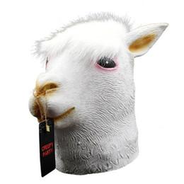 $enCountryForm.capitalKeyWord UK - High Quality New Halloween Mask Hooded Mud Horse Marvelon Latex Silicone Alpaca Mask Cos Animal Props Horse Head Alpaca Goat Toys