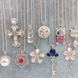 Wholesale Hot Sweater Chain Stone Necklaces Pendants New Jewelry Rose Flower Cross Cat Eye Gem Stone Owl Swarovski Crystal Fashion Pendants Necklace