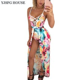 Longue Tunique Sans Manches Pas Cher-YJSFG HOUSE Sexy Flower Print Femmes Boho Beach Dress 2017 Summer Deep V-neck Slim Tunique Long Maxi Dress Sans manches Party Dress q170669