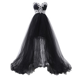 Robe Noire Sans Bretelles Corset Pas Cher-Elegant Strapless Appliques Corset Front Short Black High Low Lace Robes de soirée à la longue et faite sur commande 2017 Party Evening Dress