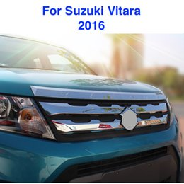 Chrome Engines Canada - For Suzuki Vitara 2016 car garnish cover front engine Machine grille upper hood stick lid trim lamp 1pcs ABS Chrome Car-styling Accessories