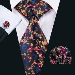 $enCountryForm.capitalKeyWord Canada - Novelty Unique Handmade Silk Tie Blue and Black Silk Neck Tie Pocket Square Cufflinks Gift Set for Friend Father N-1605