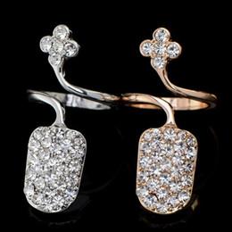 $enCountryForm.capitalKeyWord Canada - Flower Armor Full Rhinestone Silver Gold Tone Knuckle Finger Tip Ring Nail Art Decoration For Women Girl Valentine Gift