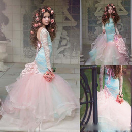 Barato Vestido Elegante Para Meninas-Elegante mangas compridas Backless Blue And Pink Girls Vestido de desfile 2017 Lace Flower Girl Dress For Children Quinceanera Party Dresses 2k17