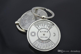 Chinese CeramiC glasses online shopping - Creative metal key ring Chinese compass English calendar keychain business gifts opening gifts