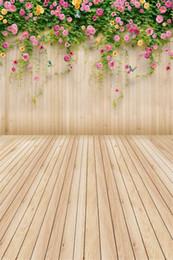 $enCountryForm.capitalKeyWord Canada - Pink Yellow Flower Children Kids Spring Background Green Vines Wood Wall Floor Photography Backdrop Plank Baby Newborn Photo Shoot Wallpaper