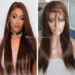 Thin skin lace wigs online shopping - Top selling super silicone wig brown color silky straight virgin indian human hair full thin skin pu wig