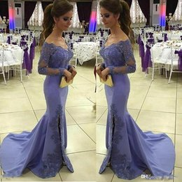 Barato Vestidos Formados De Manga Dividida-Lavender Sheer manga comprida Off The Shoulder Prom Vestidos Applique Sequins Mermaid Side Split Vestidos de noite Sweep Train formal Vestidos de festa