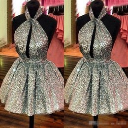 Robes De Soirée Courtes En Or Pas Cher-Sexy Halter Backless Short Homecoming Robes 2017 Gliter Gold Sequins Puffy Ball Gowns Prom Party Gowns Cheap Real Dress For Graduation