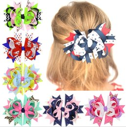 Barato Arcos Por Atacado Fitas De Flores-Atacado Girls Baby Barrettes Bow Cartoon Hairpins Girls Childrens Headdress Dot Ribbon Cloth Hair Accessories Decorative Flowers